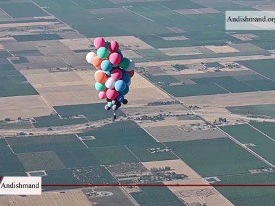 ماجراجویی - مرد آمریکایی با 52 بادکنک به پرواز درآمد!